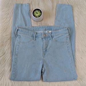  H&M Skinny Regular Waist Ankle Jeans Light Wash